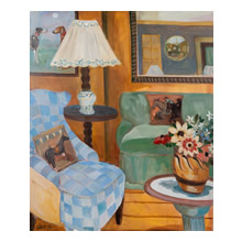 Lottie Cole - Blue Chair with Duncan Grant Vessel & Christopher Wood Flowers