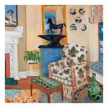 Lottie Cole - Interior with Horse Chestnut Chair, Barry Flanagan Horse on an Anvil & Japanese Ceramic Plates